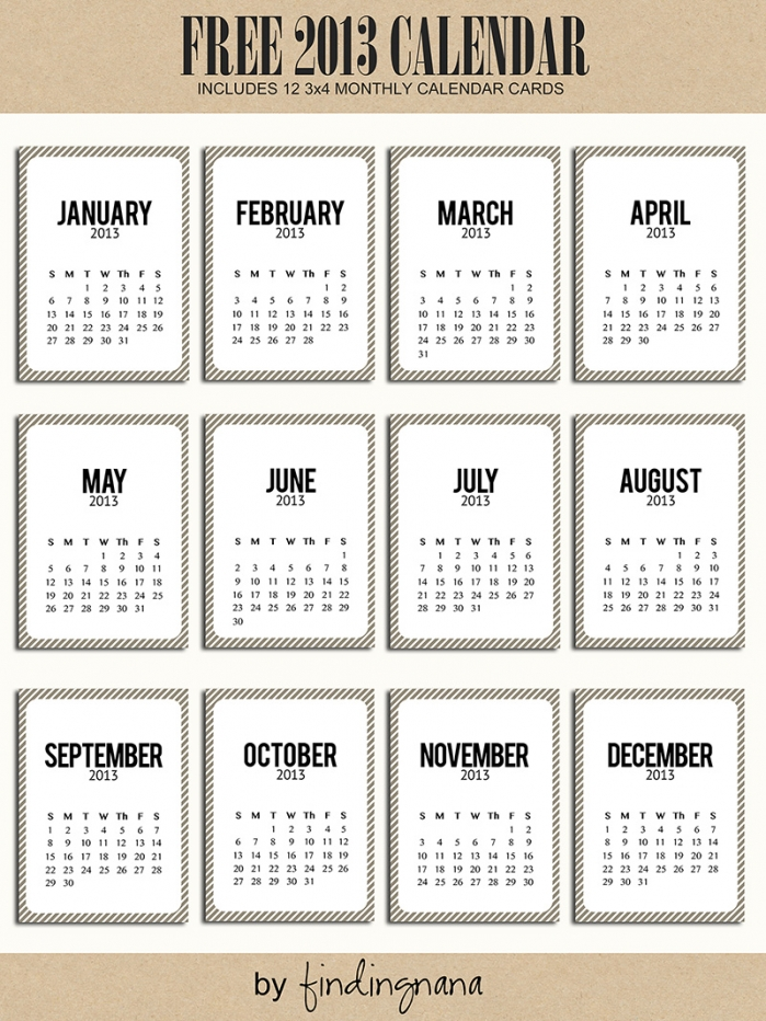 Free Printable 2013 Calendar for Project Life