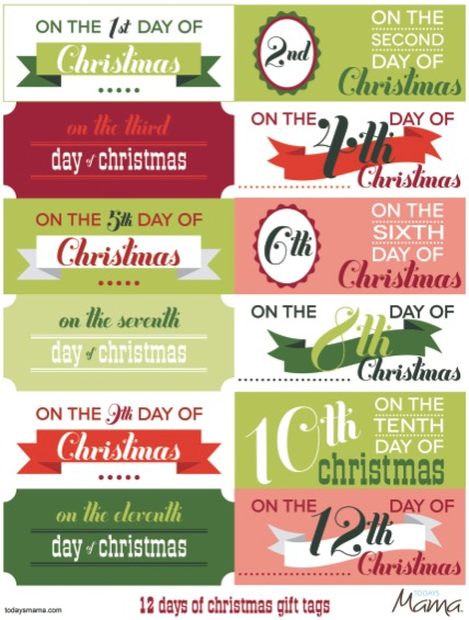photograph about 12 Days of Christmas Images Printable identified as Printable 12 Times of Xmas Tags [ A single Velvet Early morning ]