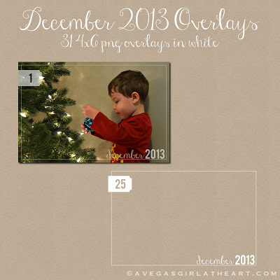 Free December Daily 2013 Photo Overlays for Project Life