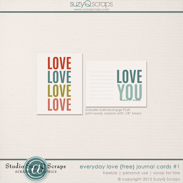 Free Love Cards for project life