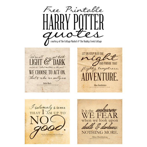 Free Harry Potter Quotes Printables |  One Velvet Morning