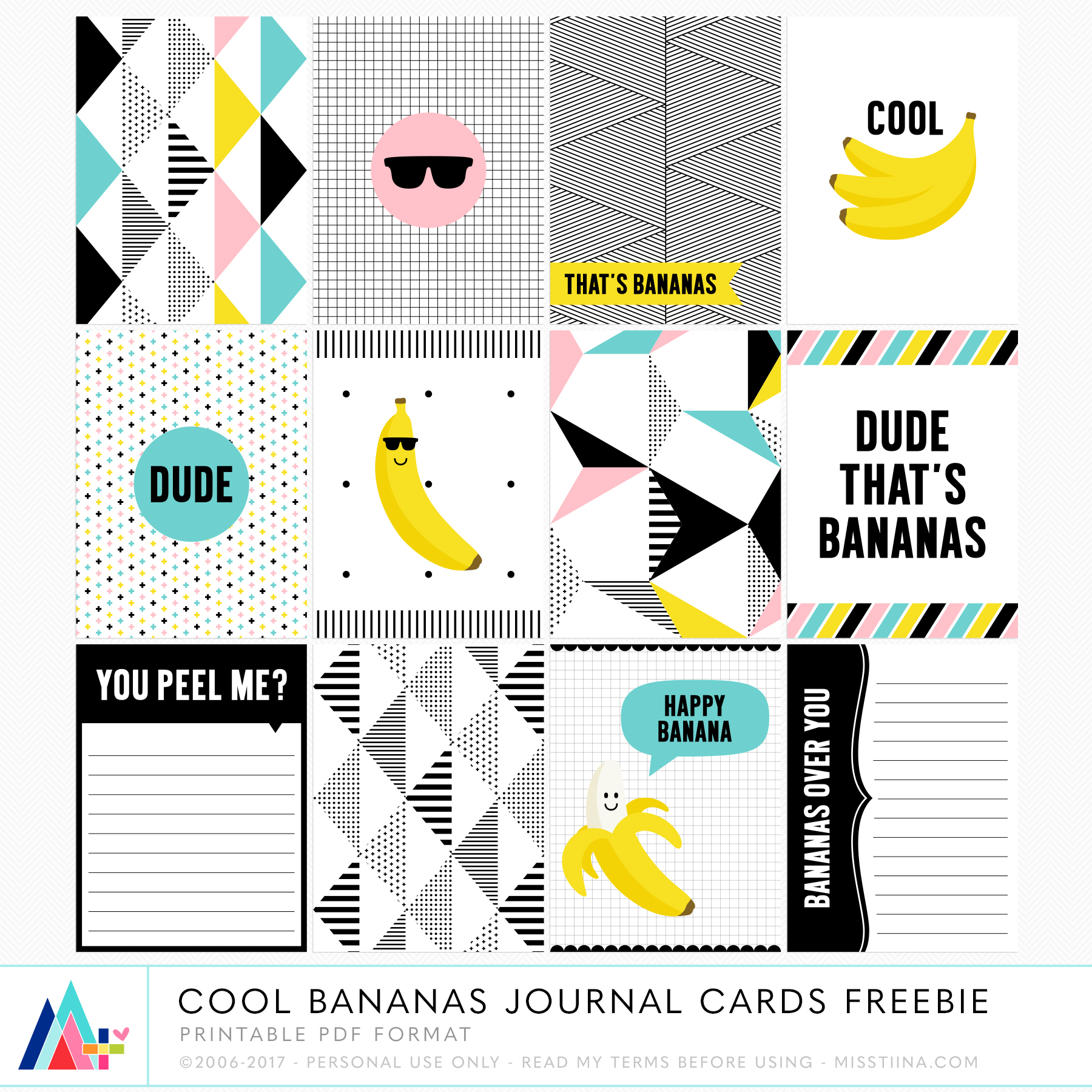 image about Free Printable Journal Cards identify Cost-free PRINTABLE Interesting Bananas Magazine Playing cards [ Just one Velvet