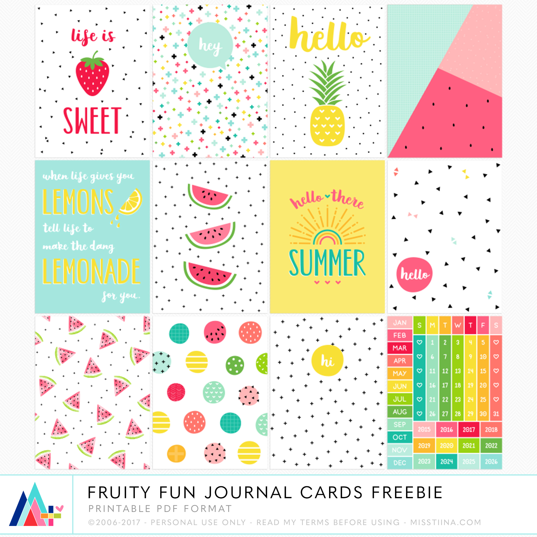Irresistible image with free printable journal cards