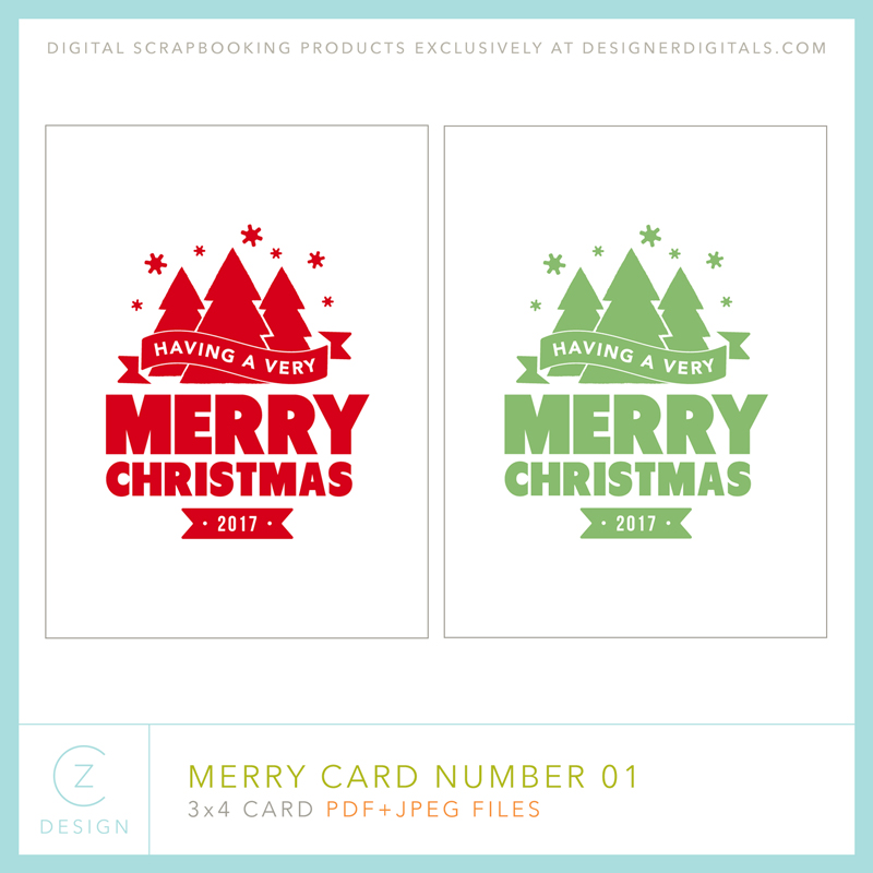 Free 3 x 4 Card Download: The Merry Card Series – CZ Design