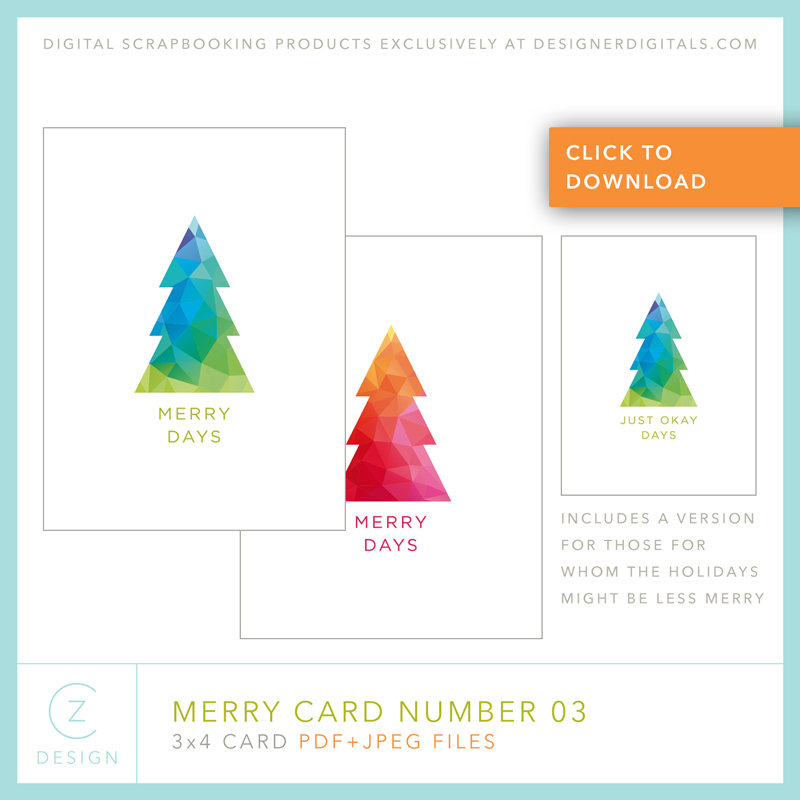 Free 3 x 4 Card Download: The Merry Card Series 03 – CZ Design