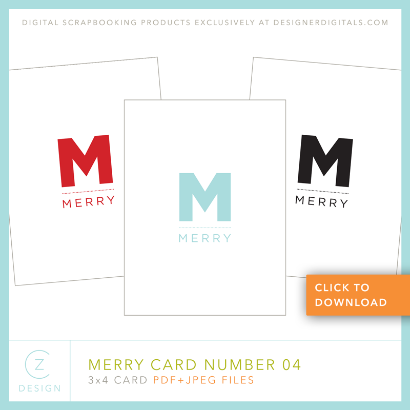FREE 3 X 4 CARD DOWNLOAD: THE MERRY CARD SERIES 04 – CZ Design