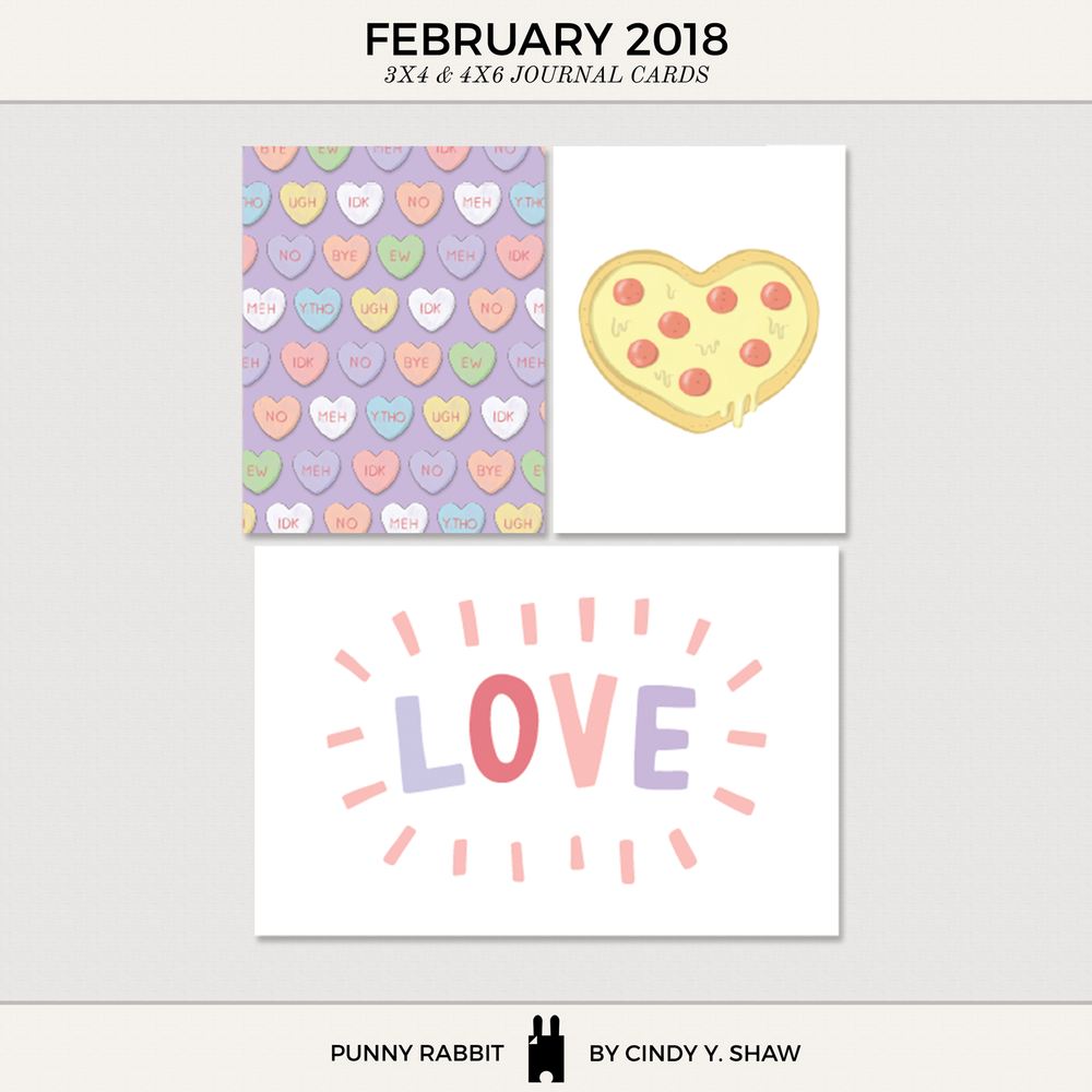 FREEBIE: 3X4 PROJECT LIFE CARDS – February 2018