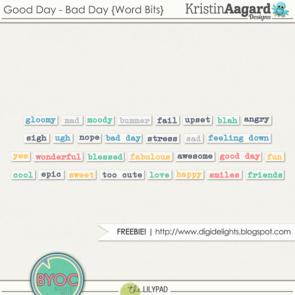 Free Good Day Bad Day Words for digital scrapbooking/ project life