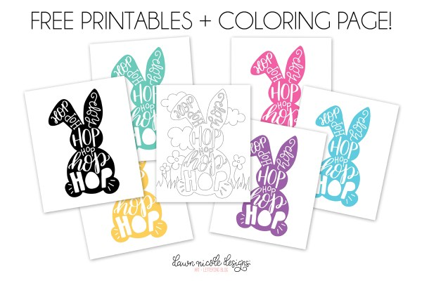Typographic Easter Bunny Free Printable