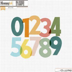 Big Number Stamps Freebie & stamped patterns paper