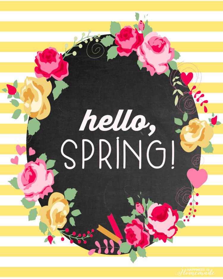Hello, Spring bright floral printable freebie